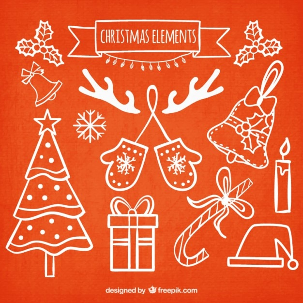 Collection of hand drawn christmas elements Free Vector
