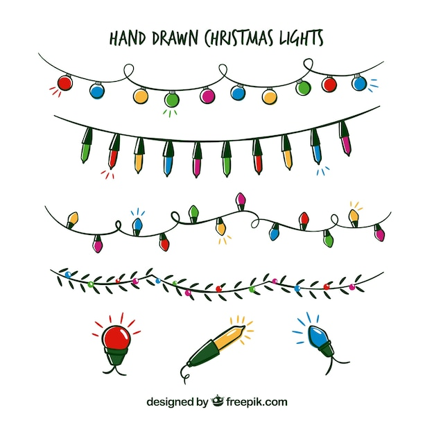 Collection of hand drawn christmas lights Free Vector