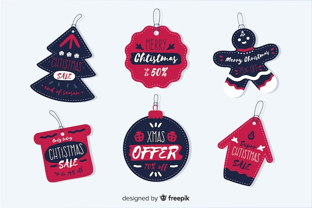 Collection of hand drawn christmas sale tag Free Vector