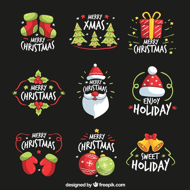 Collection of hand drawn christmas stickers Free Vector