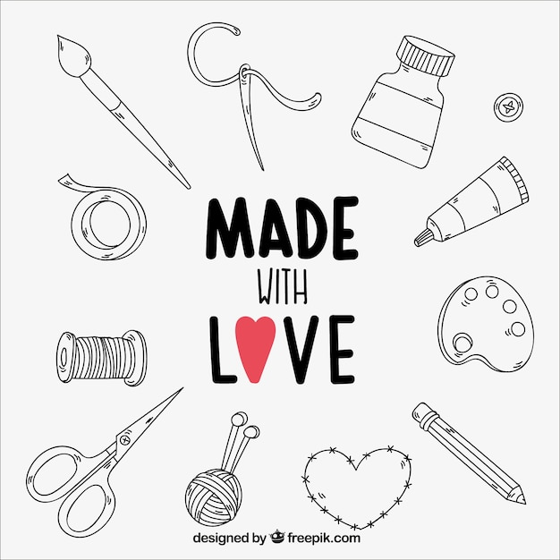 Collection of hand-drawn craft elements Free Vector