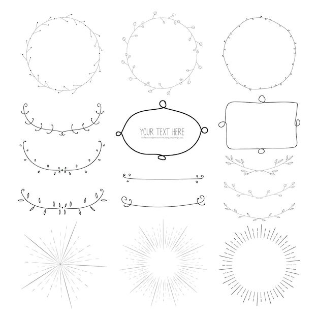 Collection of hand drawn decorative calligraphic elements, bursting rays, wreaths, botanical round frame, vector illustration. Premium Vector