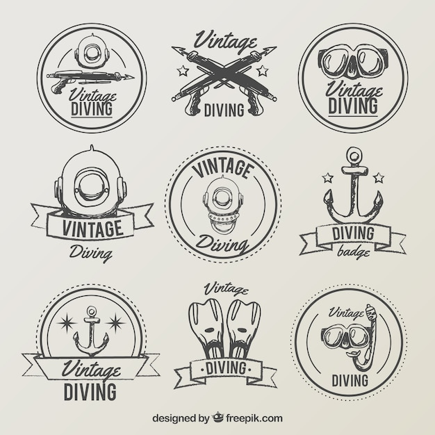 Collection of hand drawn diving vintage label Free Vector