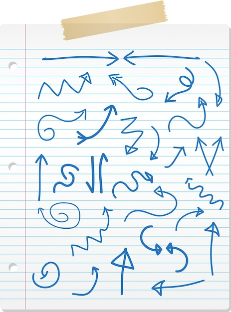 Collection of hand drawn doodled arrows on lined paper Free Vector