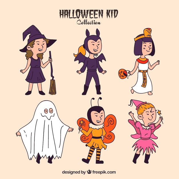 Collection of hand drawn enjoyable halloween costumes Free Vector