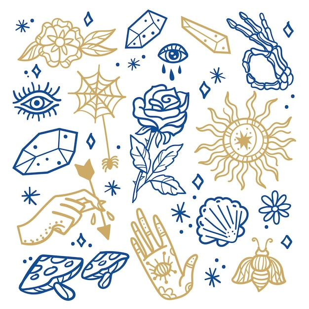 Collection of hand drawn esoteric elements Free Vector