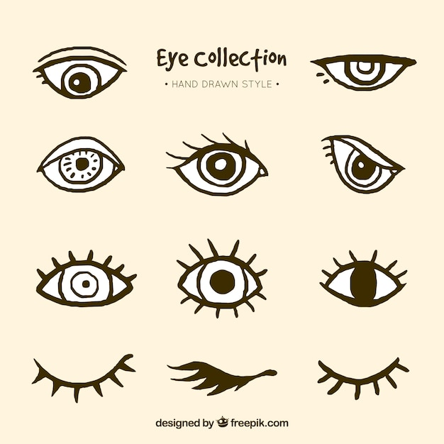 Collection of hand drawn eyes Free Vector