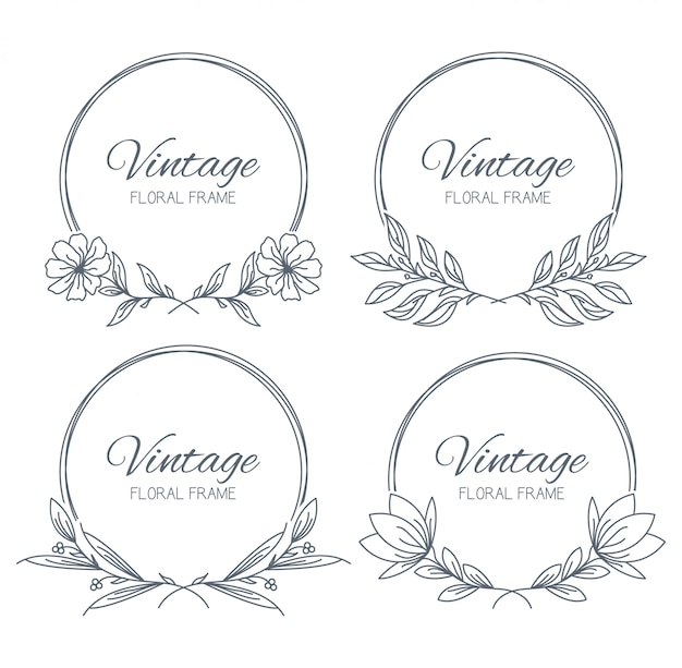 Collection hand drawn floral frame Premium Vector