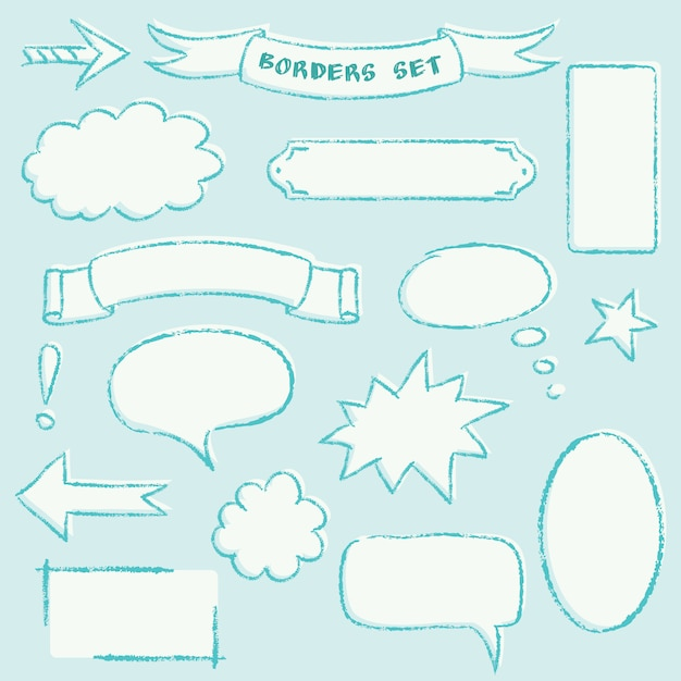 Collection of hand drawn frames Premium Vector