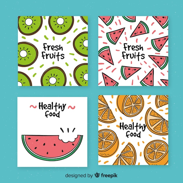 Collection of hand drawn fruit cards Free Vector