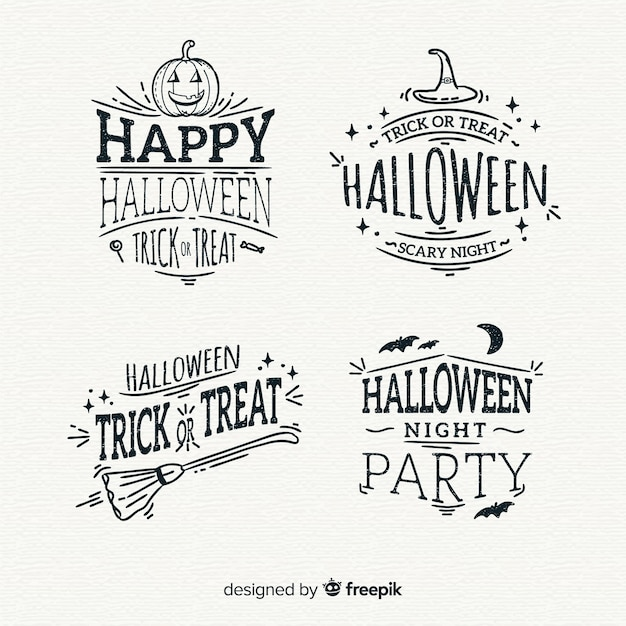 Collection of hand drawn halloween badge Free Vector
