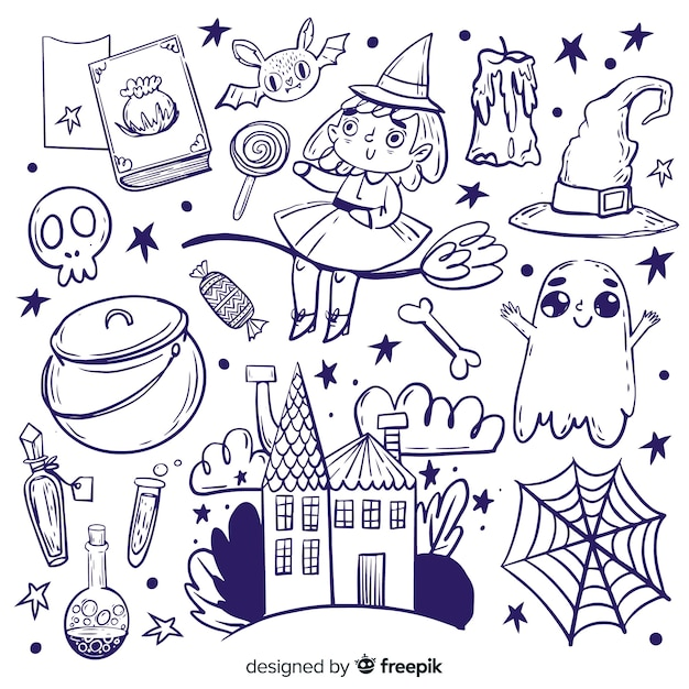 Collection of hand drawn halloween elements Free Vector