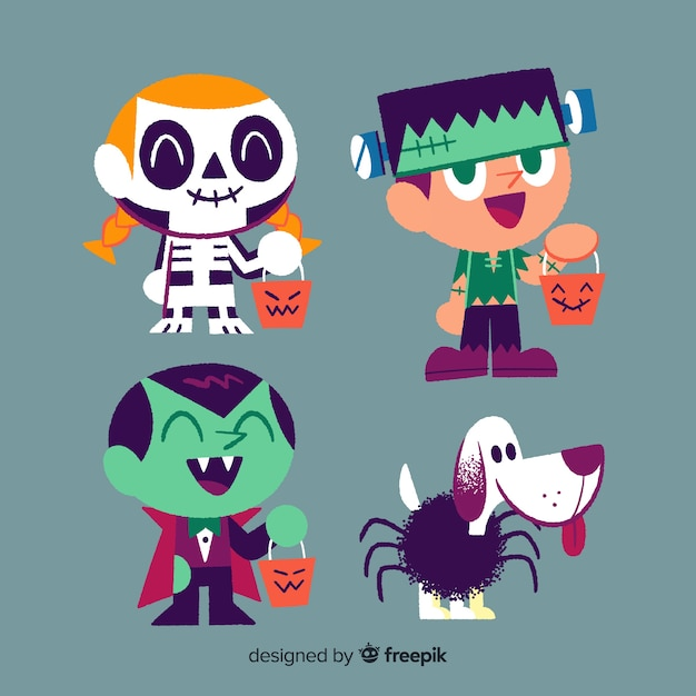 Collection of hand drawn halloween kid Free Vector
