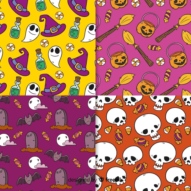 Collection of hand drawn halloween pattern Free Vector