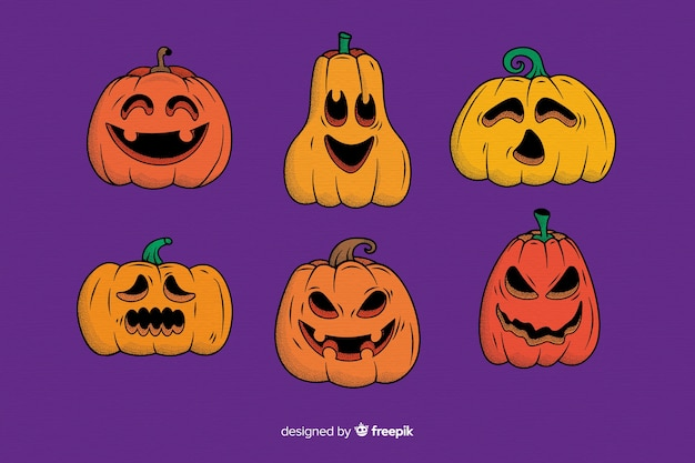 Collection of hand drawn halloween pumpkin Free Vector