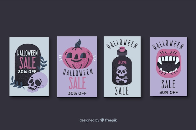 Collection of hand drawn halloween sale badge Free Vector