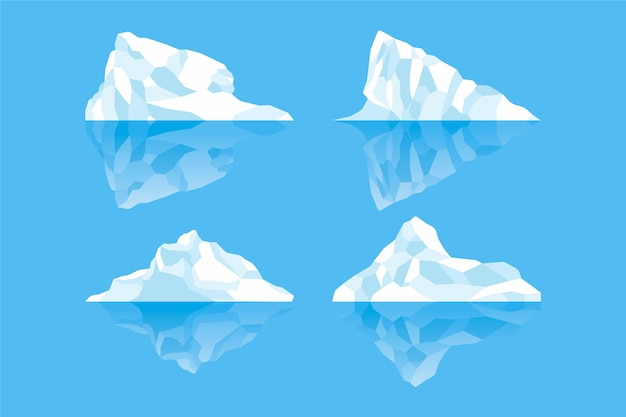 Collection of hand drawn icebergs Premium Vector
