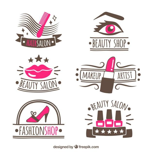 hand-drawn logos for beauty salon