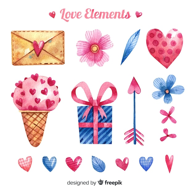 Collection of hand drawn love elements Free Vector