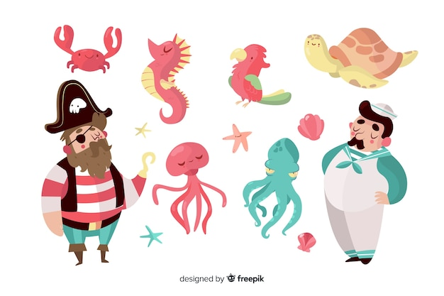 Collection of hand drawn marine characters Free Vector