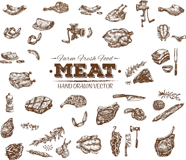 Collection of hand drawn meat products Premium Vector