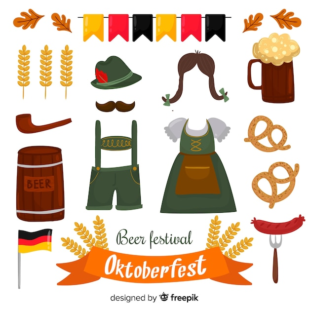 Collection of hand drawn oktoberfest elements Free Vector