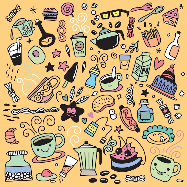 Collection of hand drawn outline buffet style breakfast , isolat Premium Vector