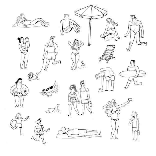 Collection of hand drawn people. Premium Vector