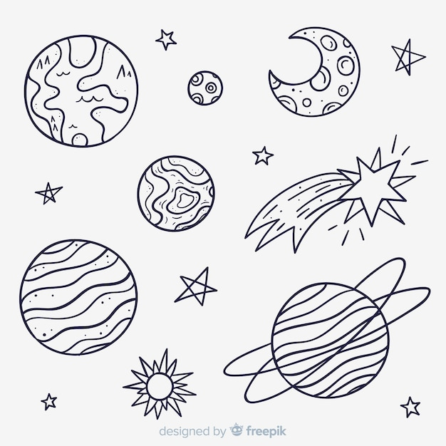 Collection of hand drawn planet in doodle style Free Vector