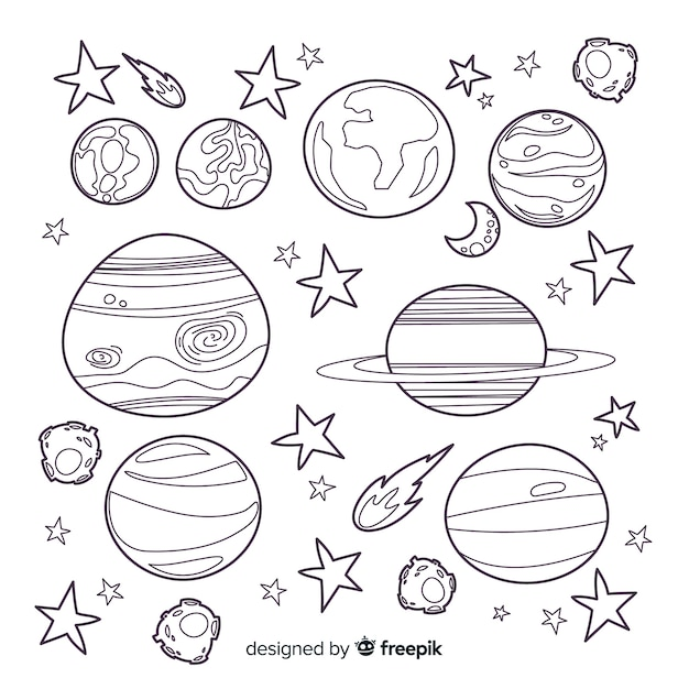 Collection of hand drawn planets Free Vector
