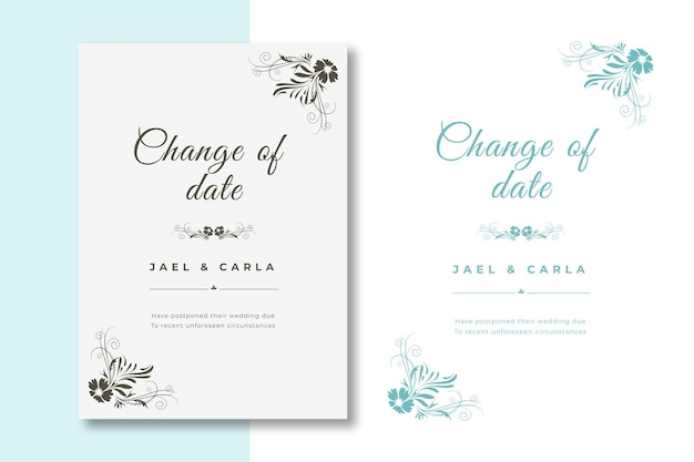 Collection of hand drawn postponed wedding card Free Vector