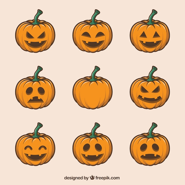 Collection of hand-drawn pumpkins Premium Vector