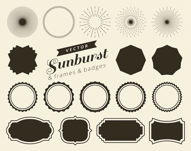 Collection of hand drawn retro sunburst Premium Vector