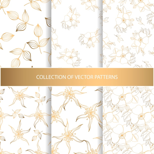 Collection of hand drawn seamless pattern with floral elements Premium Vector