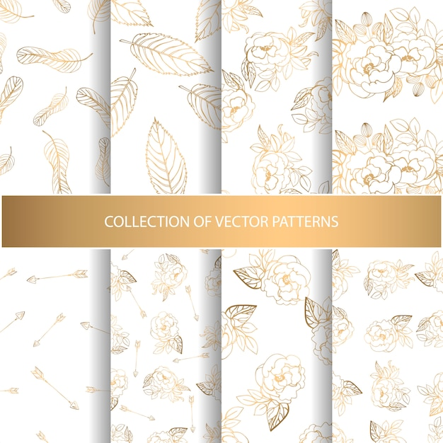 Collection of hand drawn seamless pattern Premium Vector