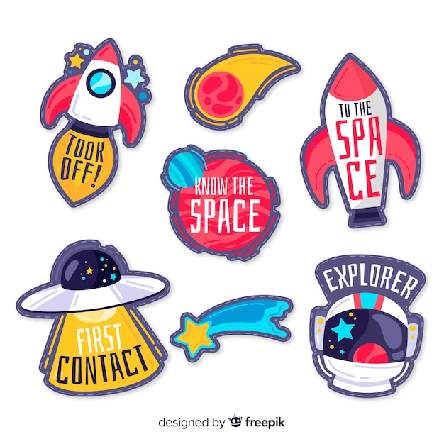 Collection of hand drawn space stickers Free Vector