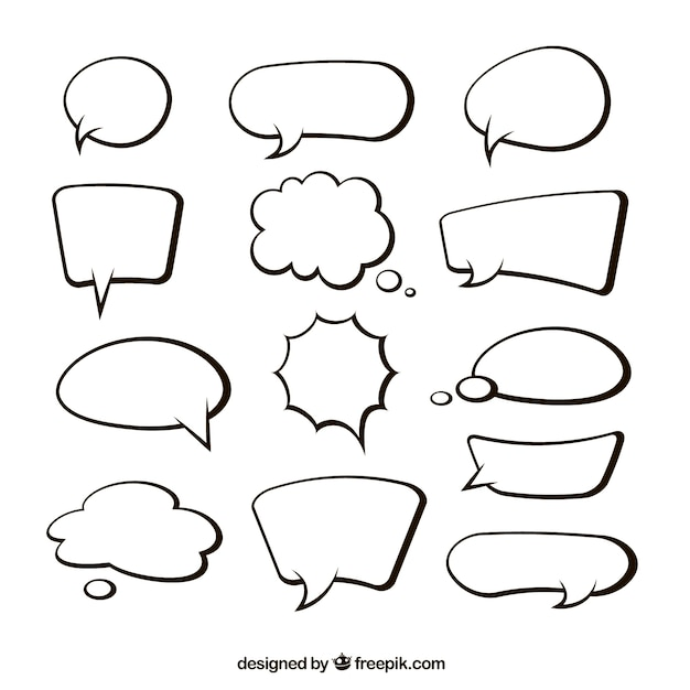 Collection of hand drawn speech bubble Free Vector