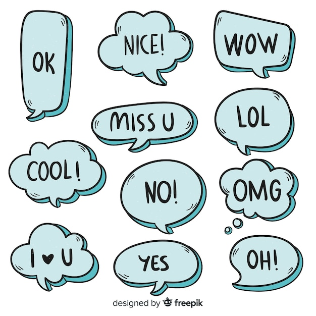 Collection of hand drawn speech bubbles Free Vector