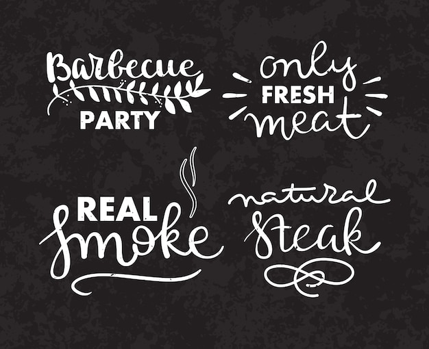 Collection of hand drawn text of grilled food, sausages, chicken, french fries, steaks, fish Free Vector