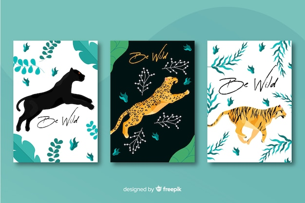 Collection of hand drawn tiger cards Free Vector