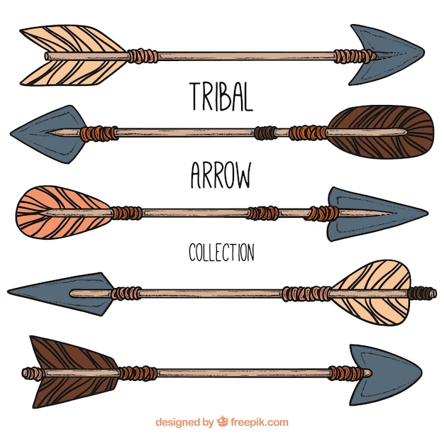 Collection of hand drawn tribal arrows Free Vector
