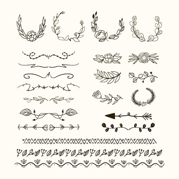 Коллекция рисованной типы рамы и разделителей Бесплатные векторы