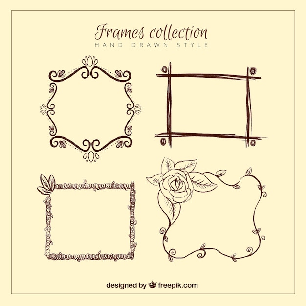 76c942b414d Collection of hand drawn vintage frames Free Vector