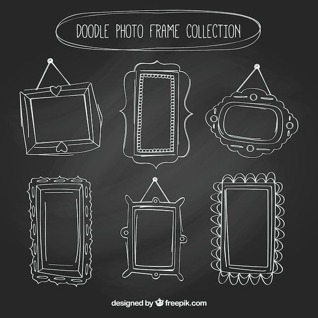 Collection of  hand drawn vintage photo frames Free Vector