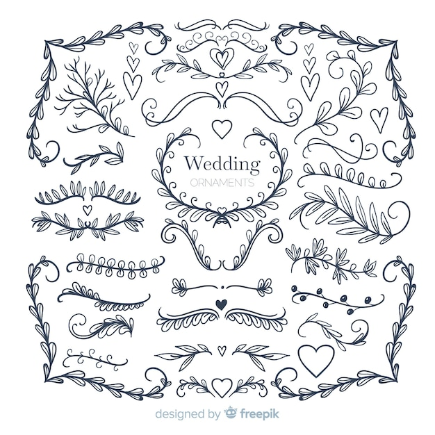 Collection of hand drawn wedding ornament Free Vector