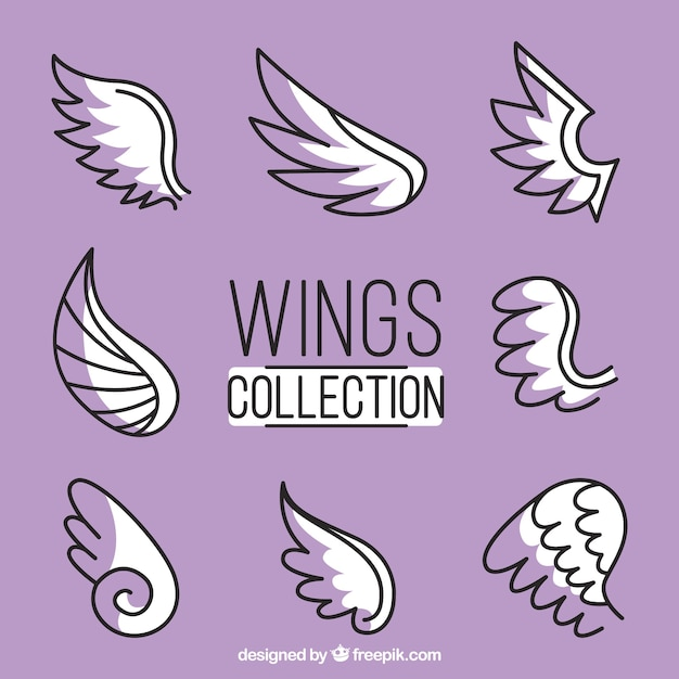 Collection of hand-drawn wings Free Vector
