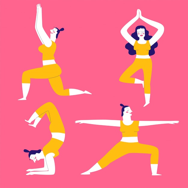 Collection of hand drawn yoga exercises poses for women. Premium Vector