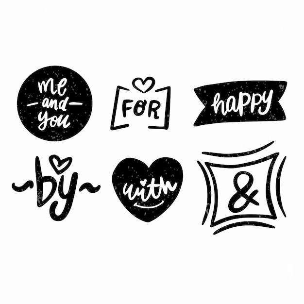 Collection of hand lettered ampersands and catchwords Free Vector