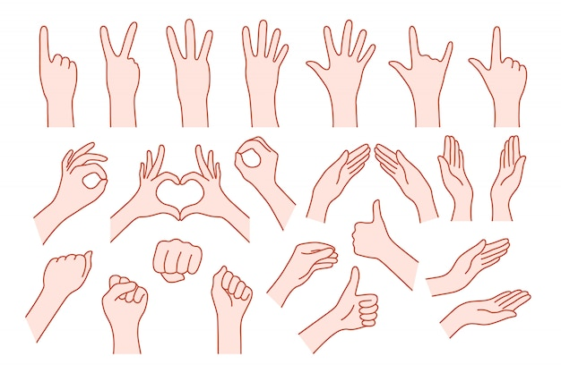 Collection hand shape like gesture. concept of stop help or rock symbol v, right or left, animated number one, two, three, four, five, zero Premium Vector