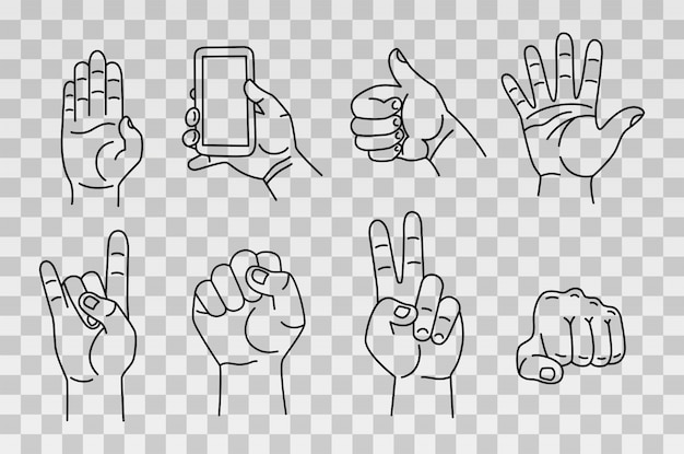 Collection of hands and gestures. hand drawn sketch isolated on transparent background. Premium Vector